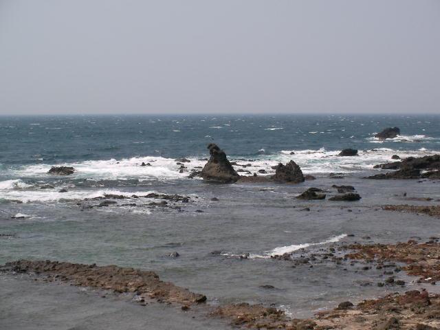 道路からのゴジラ岩
